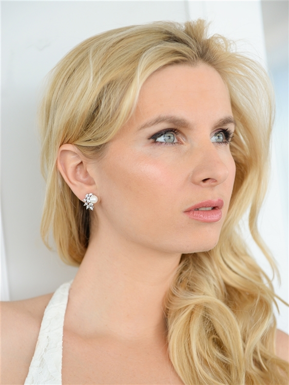 CZ Crescent Bridal Earrings with Pearl<br>3067E