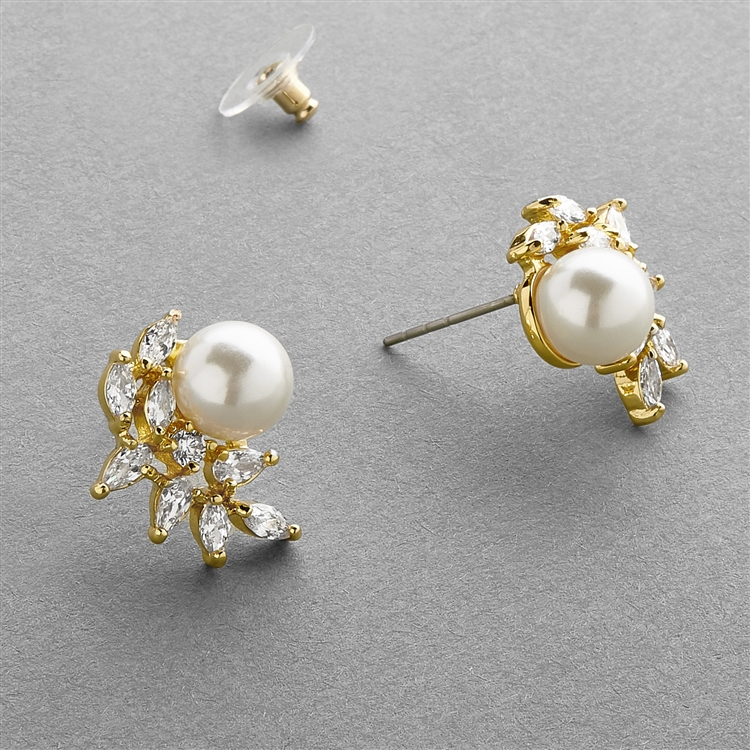 14K Gold Cubic Zirconia Crescent Bridal Earrings with Ivory Pearl<br>3067E-G