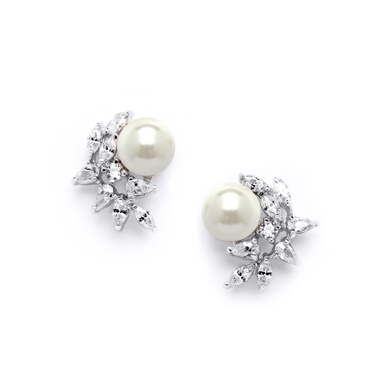 CZ Crescent Bridal Clip-On Earrings with Pearl<br>3067EC
