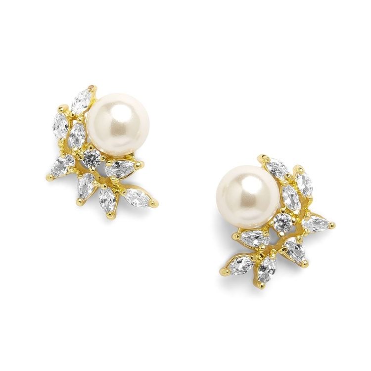 CZ Crescent Gold Bridal Clip-On Earrings with Pearl<br>3067EC-G