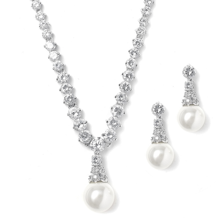 Bridal Necklace Set with Graduated CZ Rounds and Bold Pearl<br>3068S