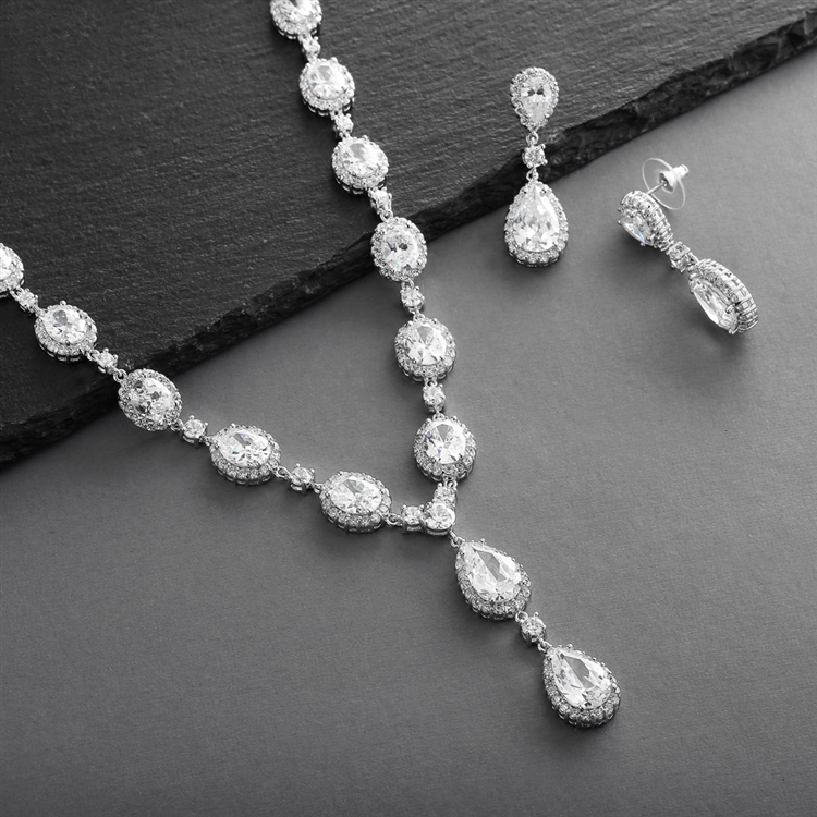 Bridal Necklace Set with Bold CZ Pears and Ovals<br>308S-CR