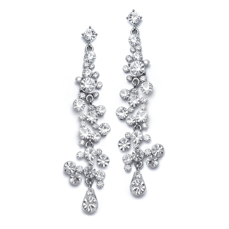 Dramatic Earrings with Cascading Clear Bubbles<br>3127E-CR