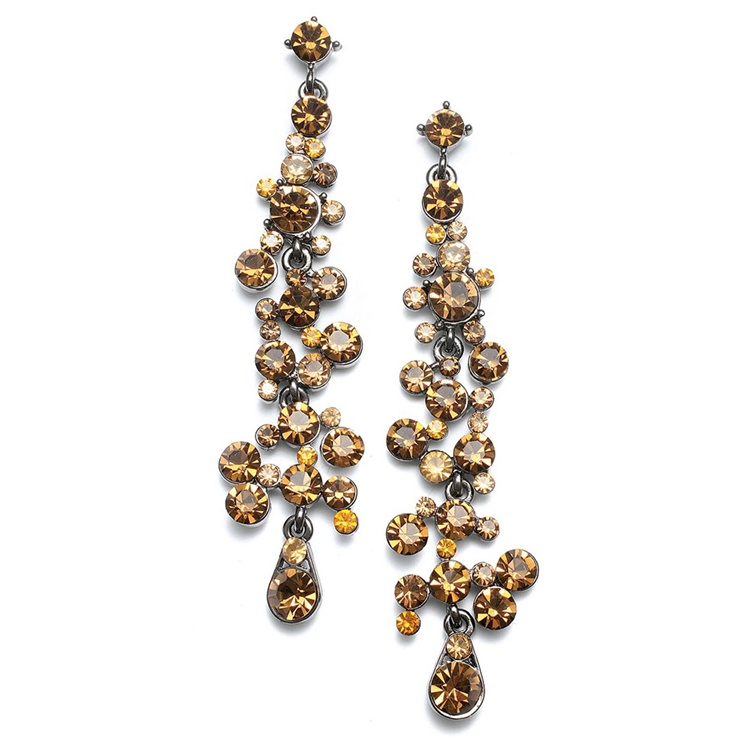 Dramatic Earrings with Cascading Topaz Bubbles<br>3127E-ST