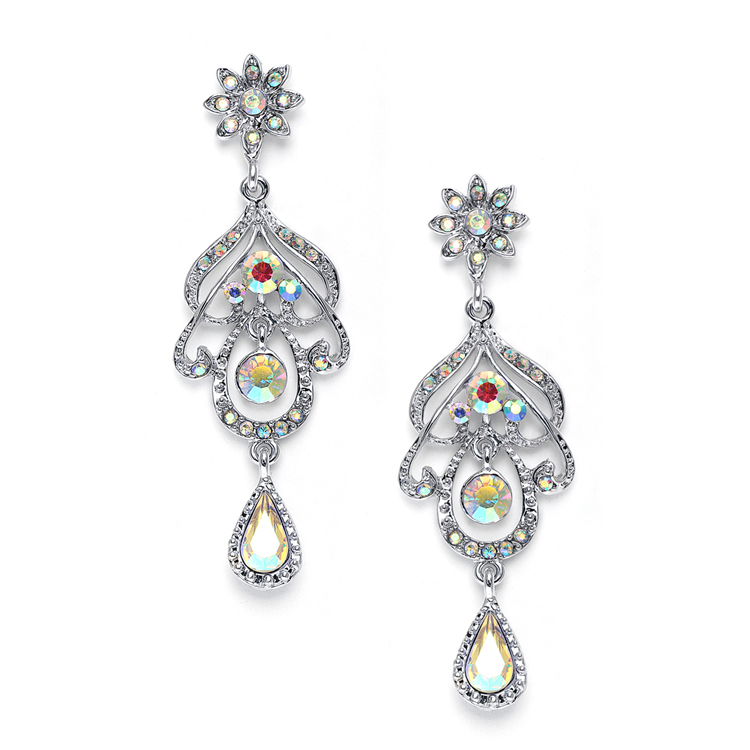 Abstract Iridescent AB Chandelier Earrings<br>3128E-AB