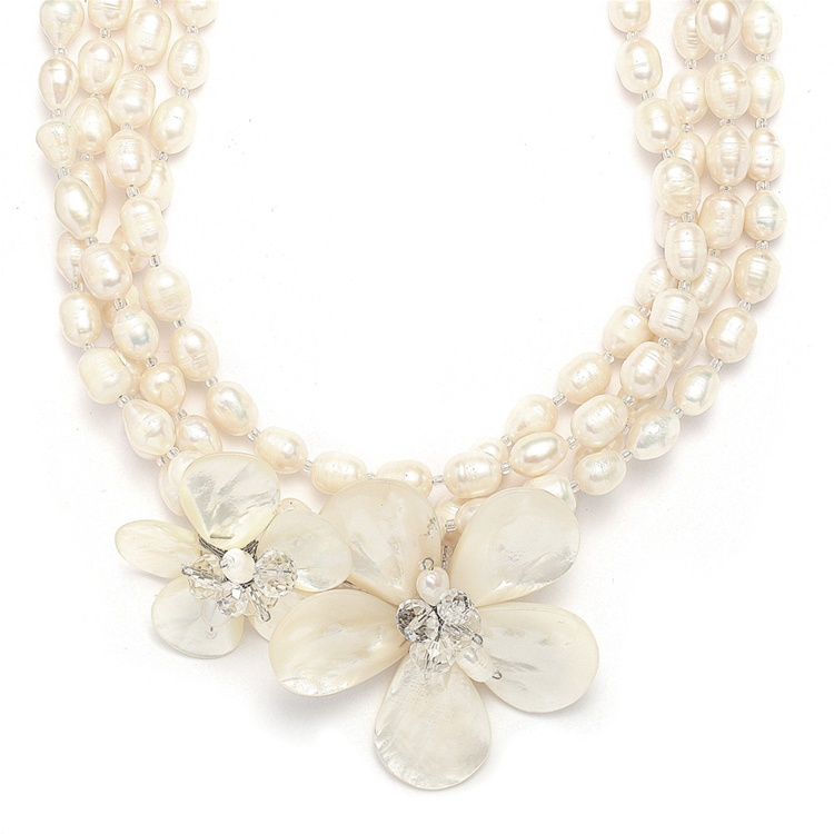 Exotic Freshwater Pearl Bridal Necklace with Flowers<br>3134N
