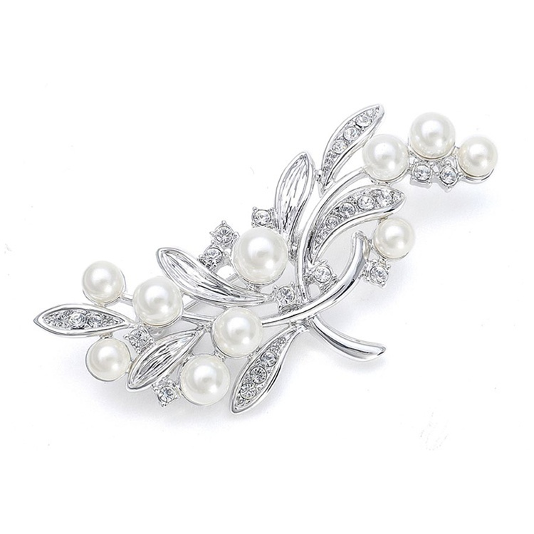 Pearl Bridal Brooch with CZ Leaves<br>3161P