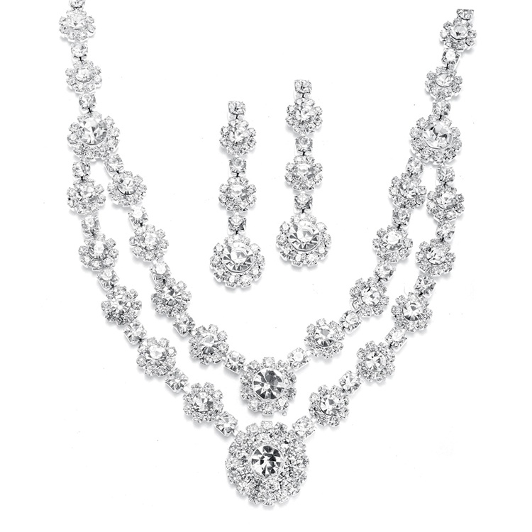 Regal Silver Two Row Rhinestone Neck Set<br>3228S-CR
