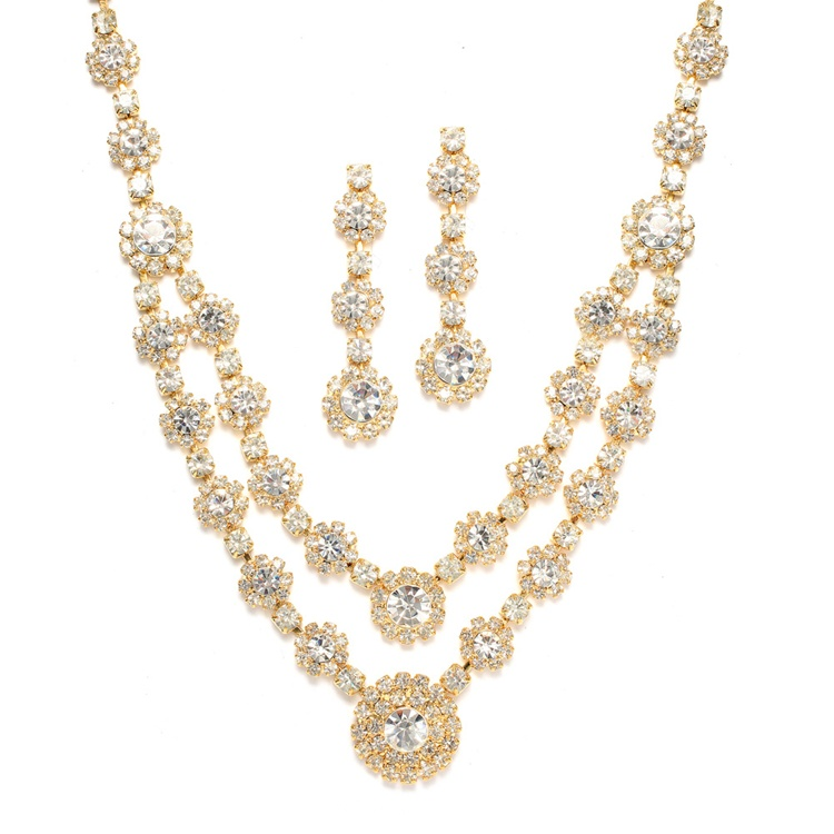 Regal Gold Two Row Rhinestone Neck Set<br>3228S-CR-G