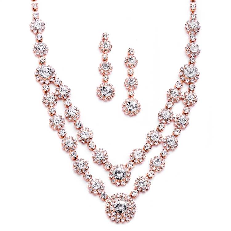 Regal Rose Gold Two Row Rhinestone Neck Set<br>3228S-CR-RG