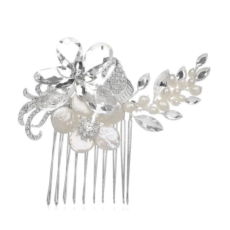 Crystal Bridal Comb with Freshwater Spray<br>3306HC