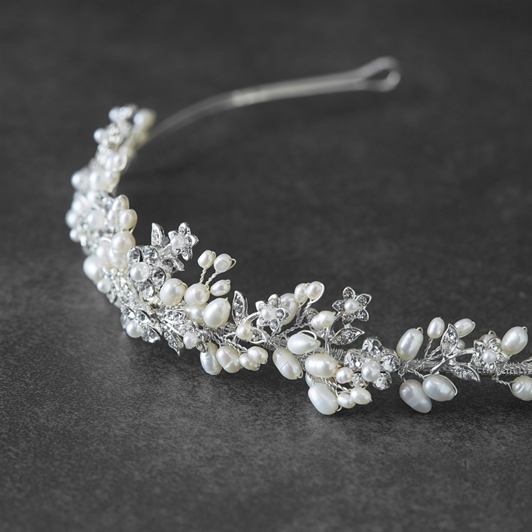 Bridal Tiara with Freshwater Clusters<br>3318T