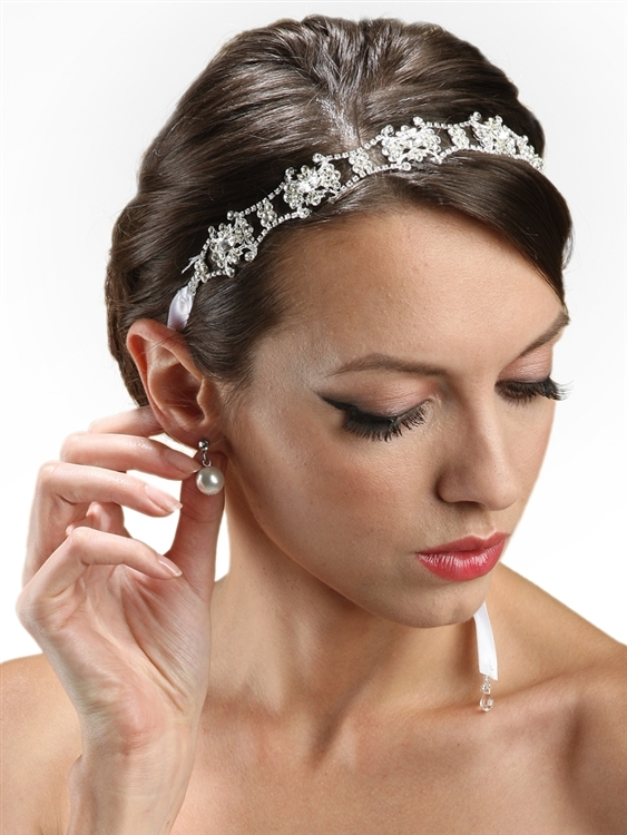 Swarovski Crystal Bridal Headband with Ribbon - Ivory<br>3324HB-I