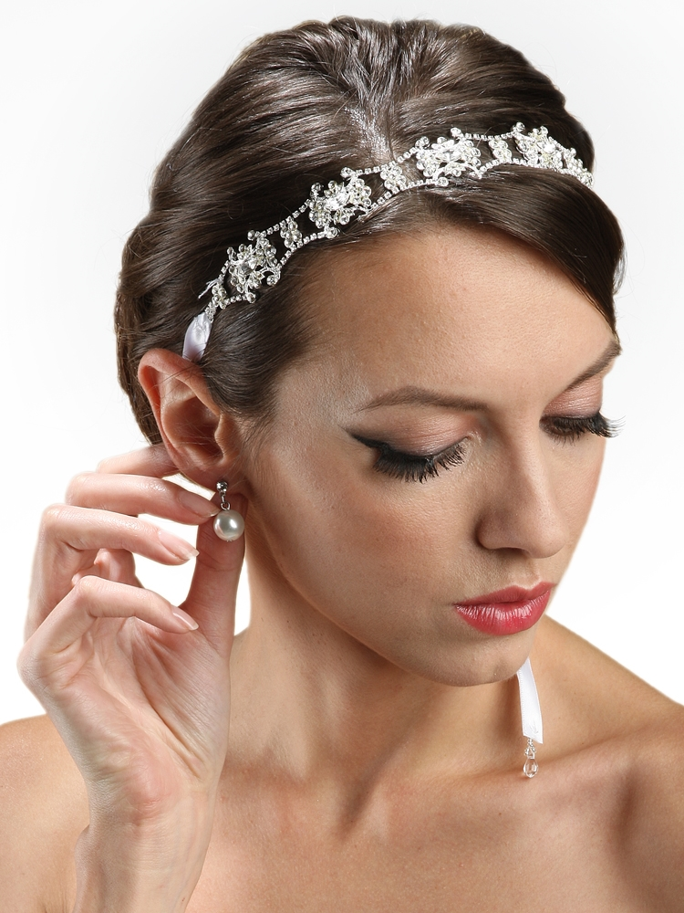 Wholesale Swarovski Crystal Bridal Headband with Ribbon - Mariell ... 3a4457f3997