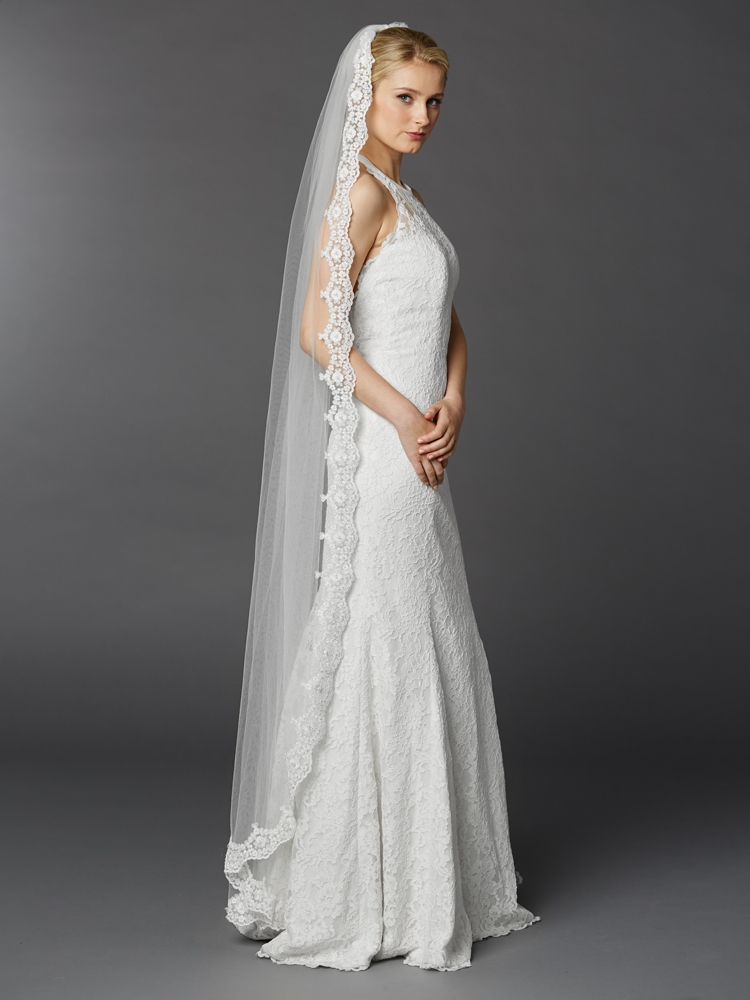 Floor or Chapel Length Wedding Mantilla Veil with Lace<br>3325V-W