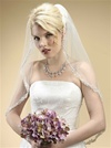 Rhinestone Edge Mantilla Wedding Veil with Floral Applique<br>3326V