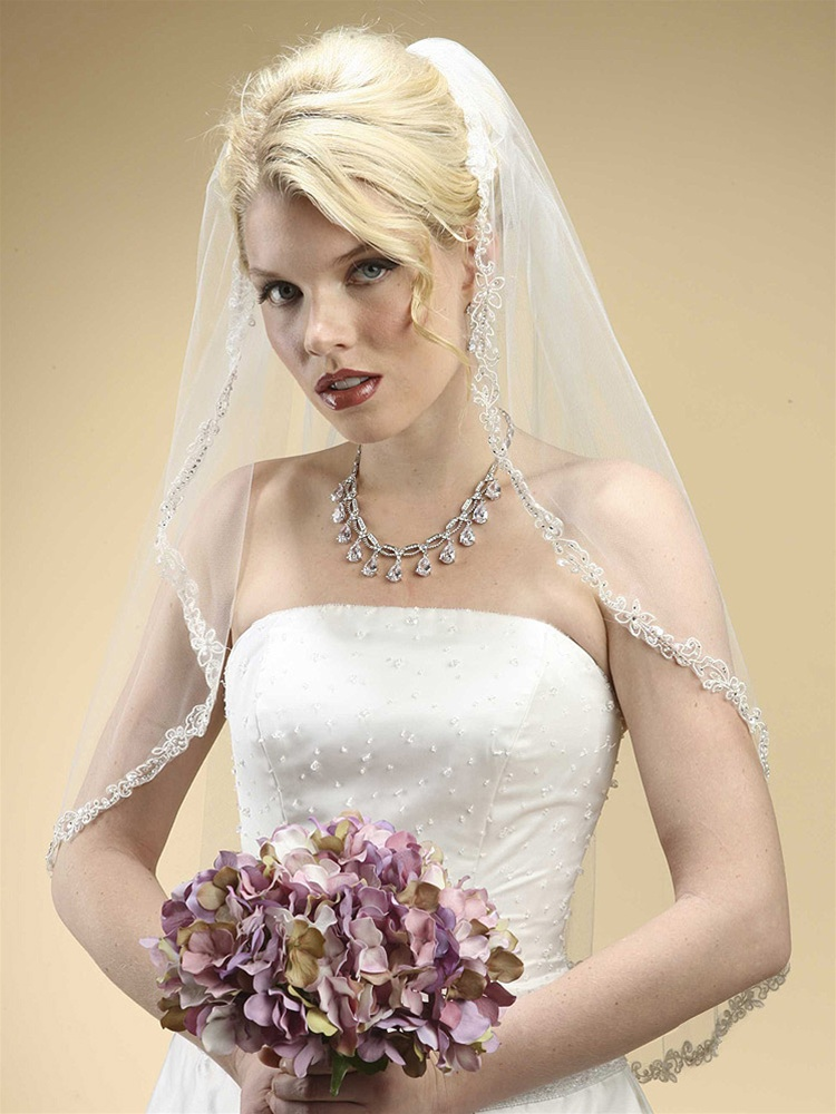 Rhinestone Edge Mantilla Wedding Veil with Floral Appliqu&egrave; - Ivory<br>3326V-I