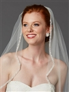 Rhinestone Edge Fingertip Wedding Veil with Pearls, Beads & Crystals - Ivory<br>3327V-I