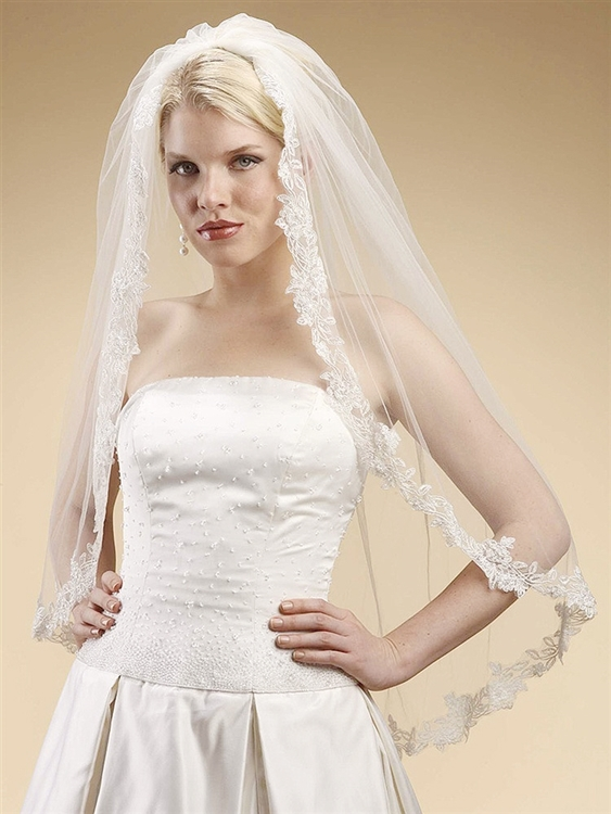 Alencon Lace Embroidered Mantilla Wedding Veil - White<br>3331V-W