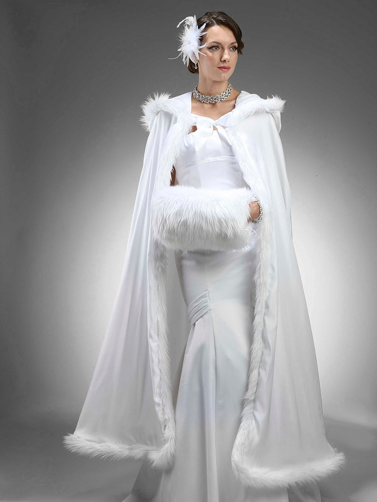 Full Length Hooded Satin Bridal Cloak in White with Faux Angora Trim<br>3368CL-W
