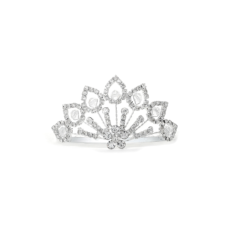 Rhinestone Tiara Comb with Crystal Beads<br>3412TC