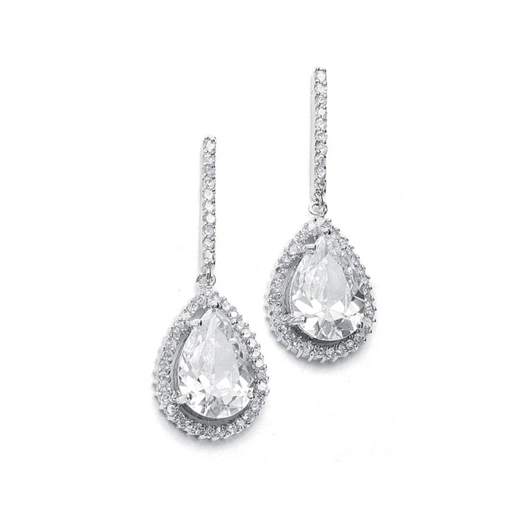 Large CZ Pear Drop Bridal Earrings with Pave Frame<br>342E