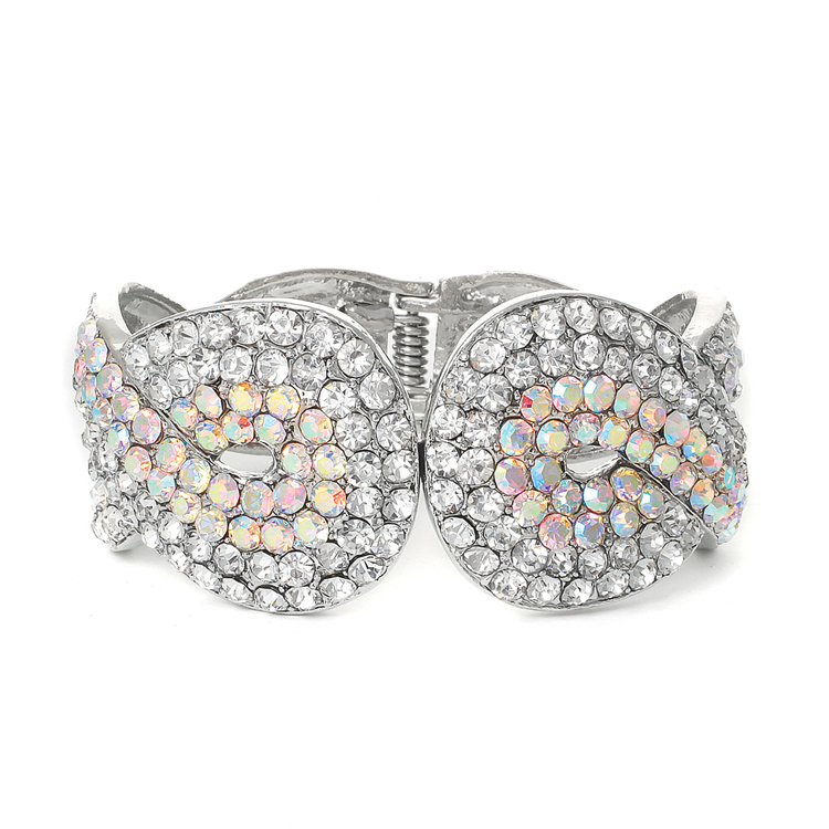 Iridescent Crystal Wedding or Prom Cuff Bracelet<br>3439B