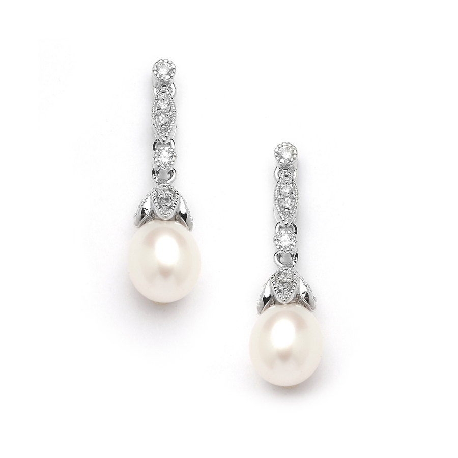 Freshwater Pearl Vintage Bridal Earrings<br>343E