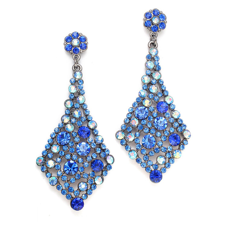 Royal Blue Crystal Bridesmaids or Prom Earrings<br>3441E-RY