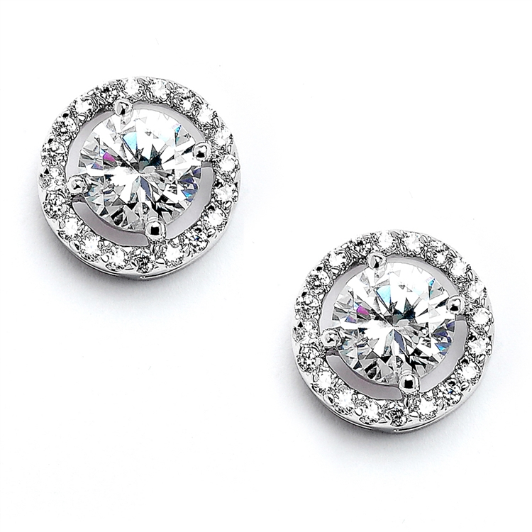 Bridal Earrings with Bold CZ Solitaire<br>347E