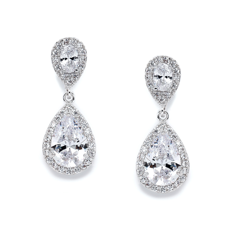 Lustrous Cubic Zirconia Teardrop Wedding Earrings<br>3520E