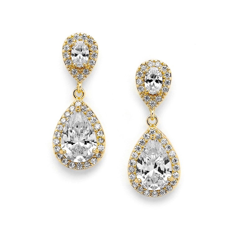 Lustrous 14K Gold Cubic Zirconia Teardrop Wedding Earrings<br>3520E-G