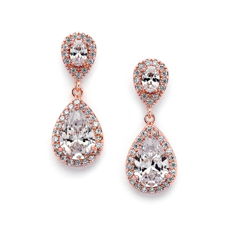 Lustrous Cubic Zirconia Teardrop Wedding Earrings<br>3520E-RG