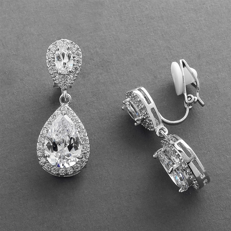 Lustrous Clip-On Cubic Zirconia Teardrop Wedding Earrings<br>3520EC