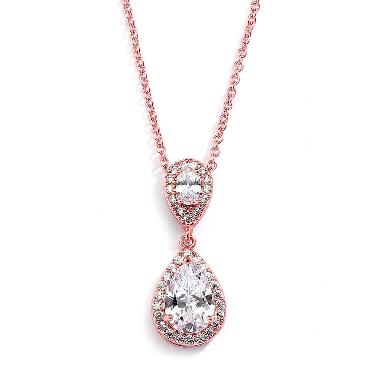 Lustrous Rose Gold Cubic Zirconia Teardrop Wedding Pendant<br>3520N-RG