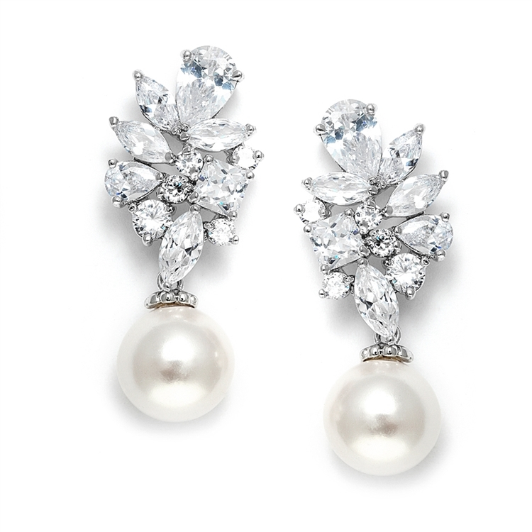 Mariell Bold CZ Cluster Wedding Bridal Earrings with Light Ivory Pearl Drops - Genuine Platinum Plated