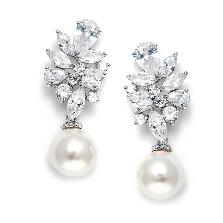 Dazzling CZ Cluster Wedding Earrings with Pearl drop<br>3530E