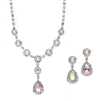 Iridescent Rhinestone Prom or Bridesmaid Necklace & Earrings Set<br>3555S-AB