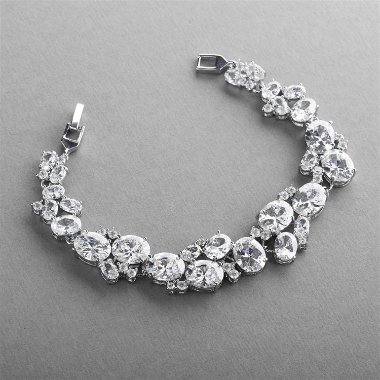 Exquisite Bridal or Evening Bracelet with Multi Cubic Zirconia Shapes<br>3562B