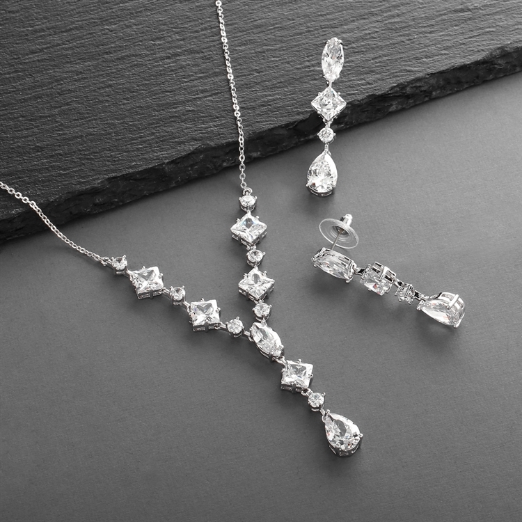 Glamorous Mixed Cubic Zirconia Wedding Necklace & Earrings Set<br>3564S
