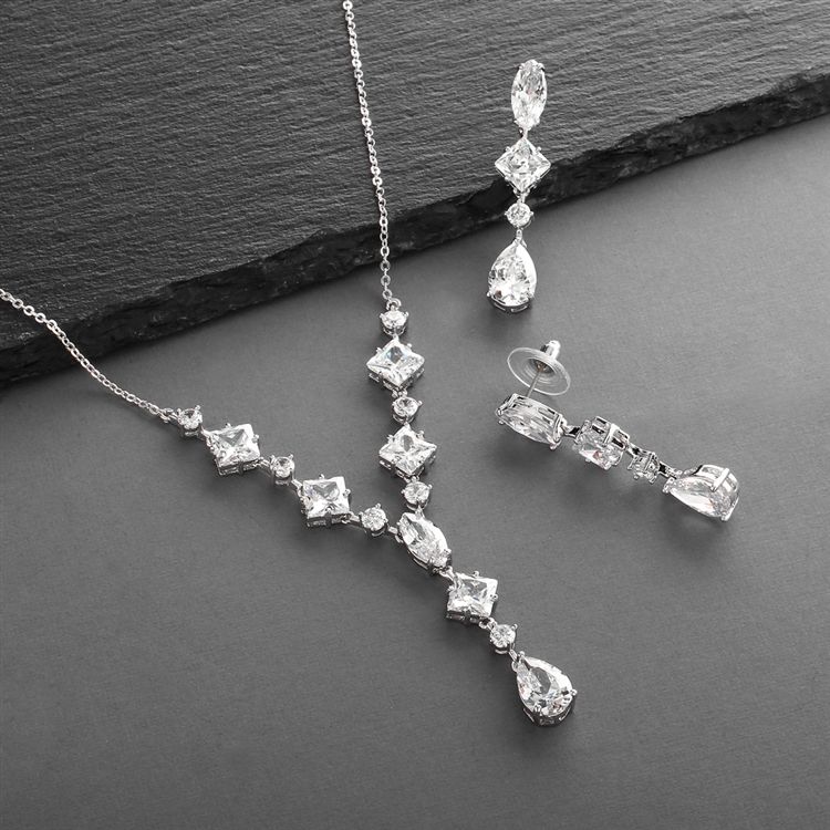 Glamorous Mixed CZ Wedding Necklace & Earrings Set for Brides<br>3564S