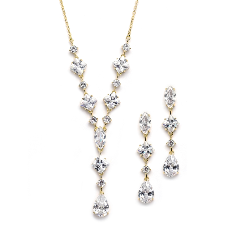 Glamorous Rose Gold Mixed Cubic Zirconia Wedding Necklace & Earrings Set<br>3564S-G