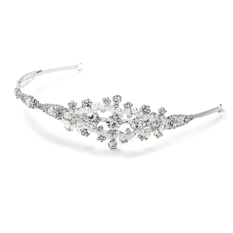 Crystal and White Pearl Starburst Bridal Side Headband <br> 3573HB