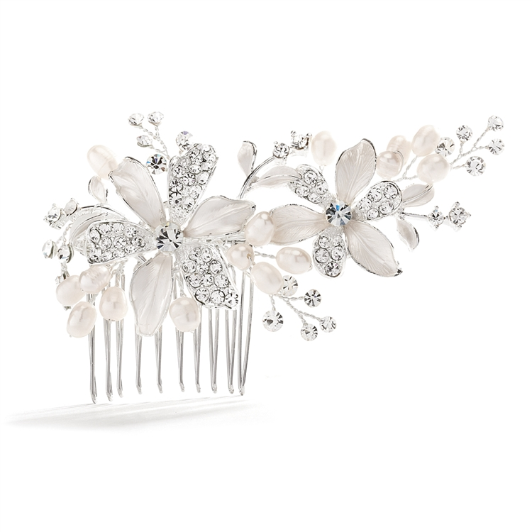 Brushed Silver Floral Wedding Comb with Freshwater Pearls & Crystals<br>3578HC