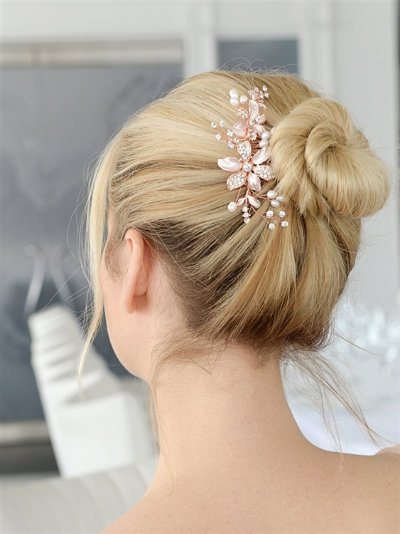 Rose Gold Floral Wedding Comb with Freshwater Pearls & Crystals<br>3578HC-RG