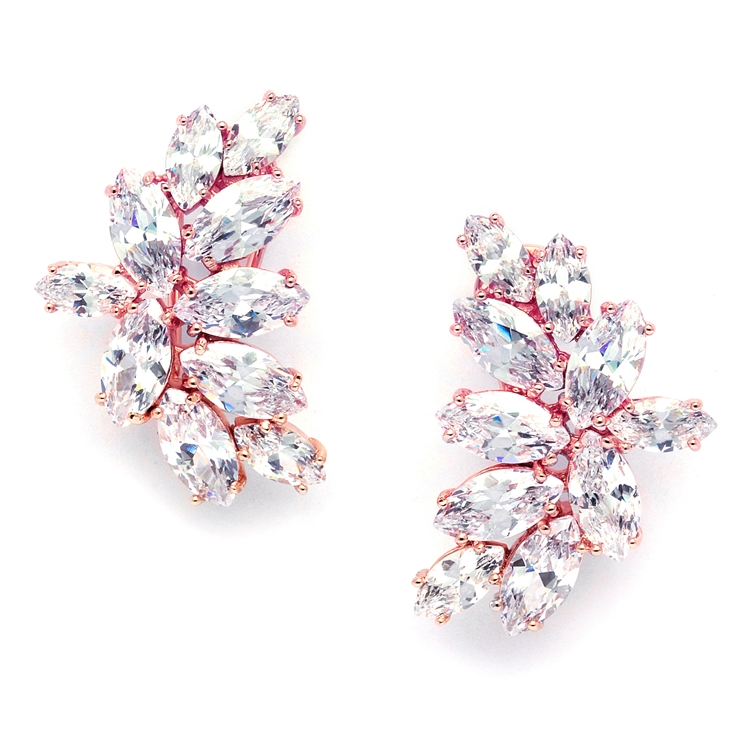 Shimmering Cubic Zirconia Marquis Cluster Rose Gold Earrings<br>3598E-RG