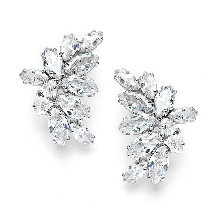 Clip-On Cubic Zirconia Marquis Cluster Earrings<br>3598EC