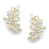 Shimmering Cubic Zirconia Marquis Cluster Gold Clip-On Earrings<br>3598EC-G