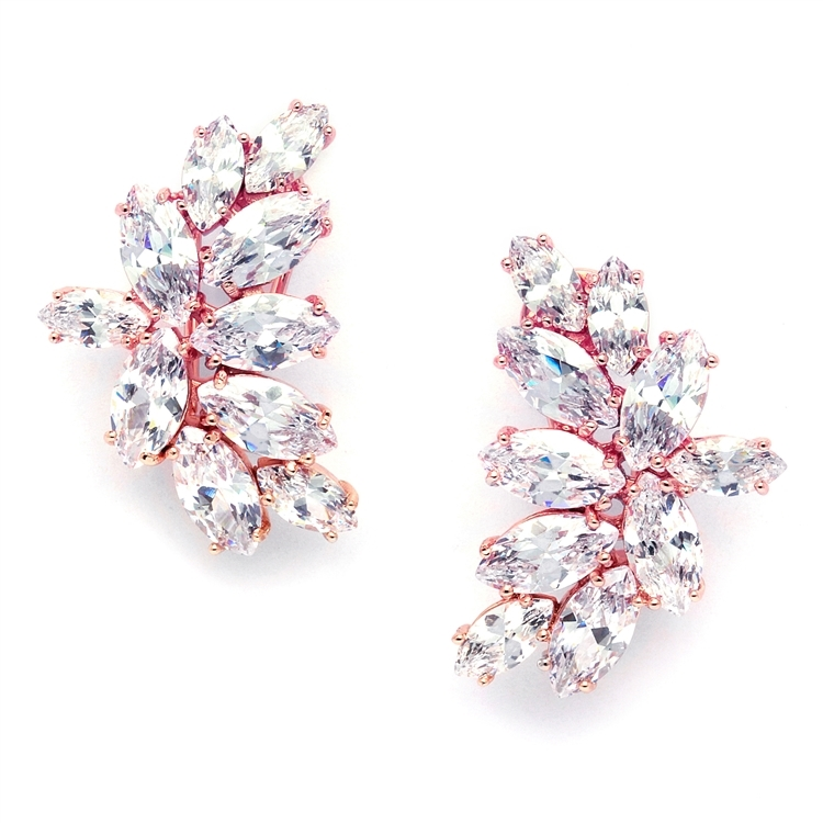Shimmering Cubic Zirconia Marquis Cluster Rose Gold Clip-On Earrings<br>3598EC-RG