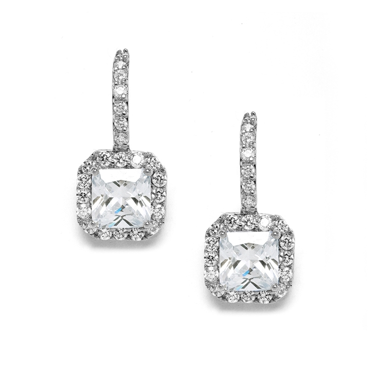 Radiant Cut Cubic Zirconia Drop Bridal or Bridesmaids Earrings<br>3609E